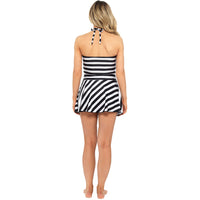 Ladies Stripe Bandeau Halter Neck Swim Dress