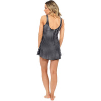 Ladies Gingham Printed Swim Dress with Scoop Back