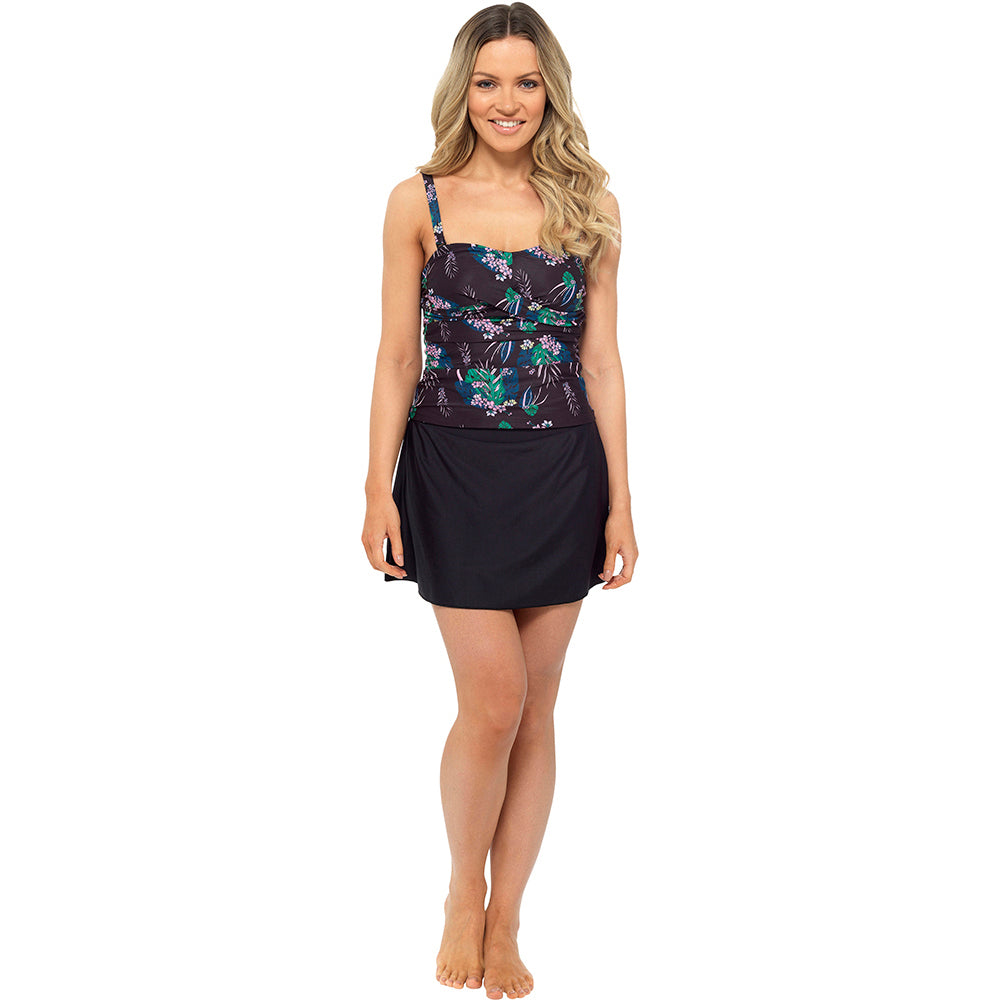 Ladies Tropical Print Tankini with Swim Skirt and Built in Briefs