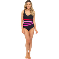 Ladies V Neck Classic Multi Stripe Swim Suit