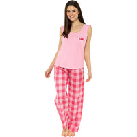 Ladies Jersey Ruffle Top with Check Pants