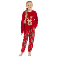 Girls Novelty Christmas Reindeer Fleece Twosie