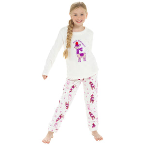 Girls Llama Fleece Pyjama Set