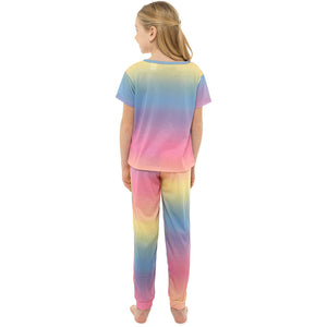 Girls Rainbow Coloured Jersey Pyjama Set