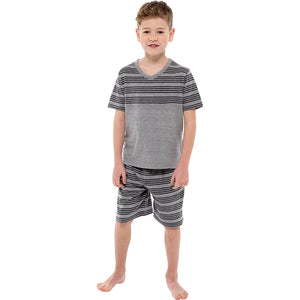 Boys Jersey Striped Panel Top and Shorts Pyjama Set