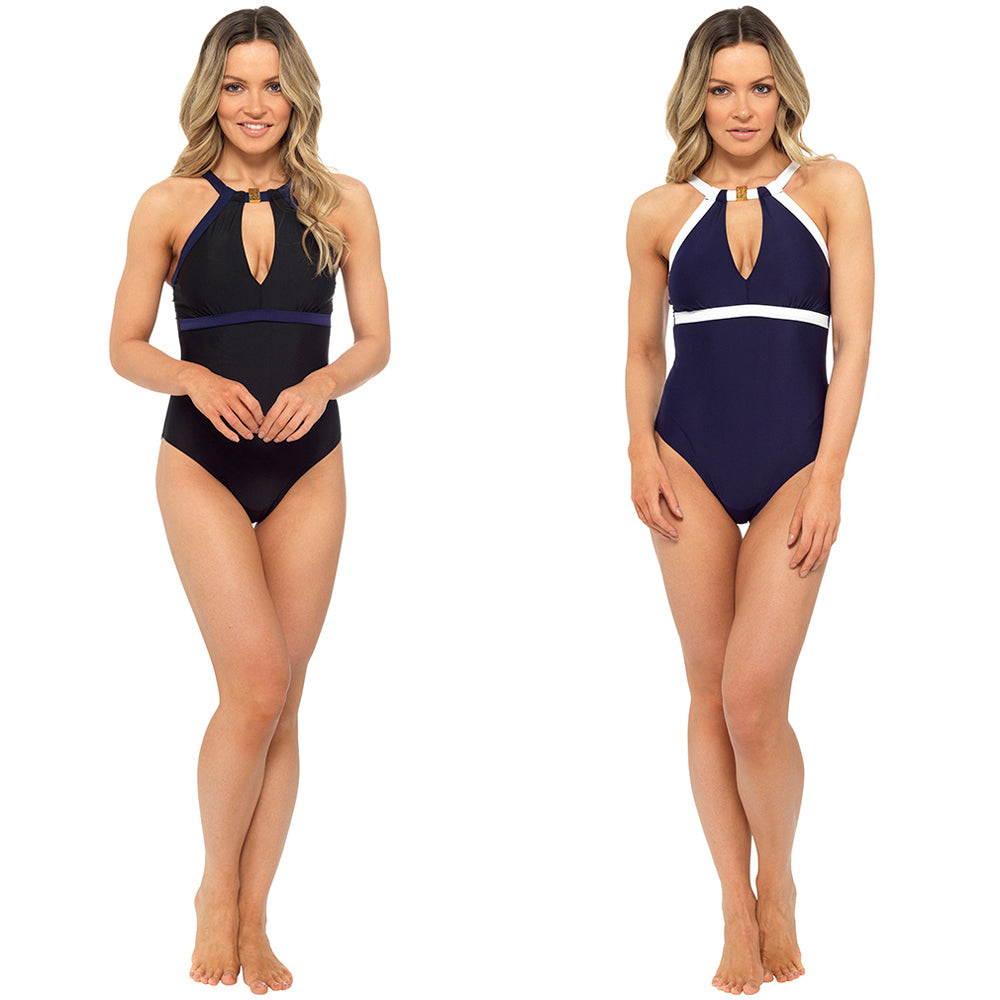 Ladies Contrast Coloured Swim Suit with Flattering Deep Plunge Keyhole