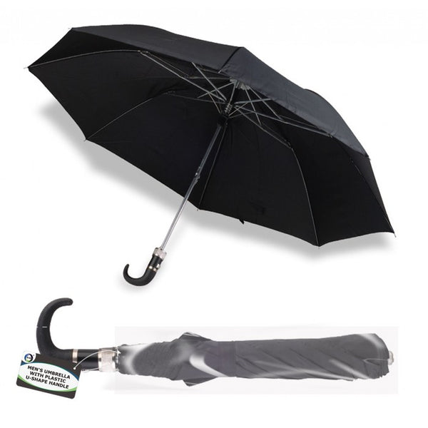 Buy wholesale Men's umbrella with plastic u-shape handle Supplier UK