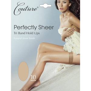 Ladies Perfectly Sheer Tri Band Hold Ups 10 Denier