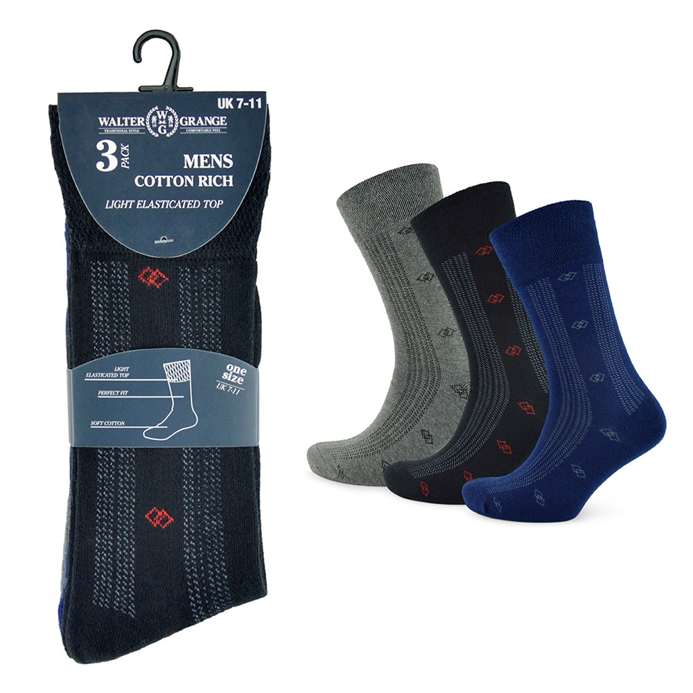 Mens Small Pattern Soft Top Socks (3 Pack)