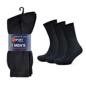 Mens Plain Black Sport Socks (3 Pack)