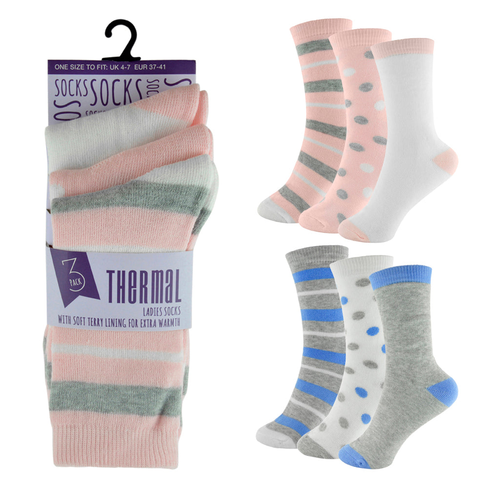 Ladies Polyester Thermal Socks (3 Pack)