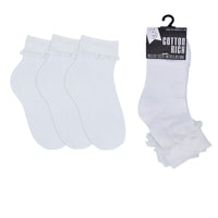 Girls Frill Socks with Lace (3 Pack)