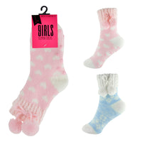 Girls Cosy Slipper Socks with Pom Pom