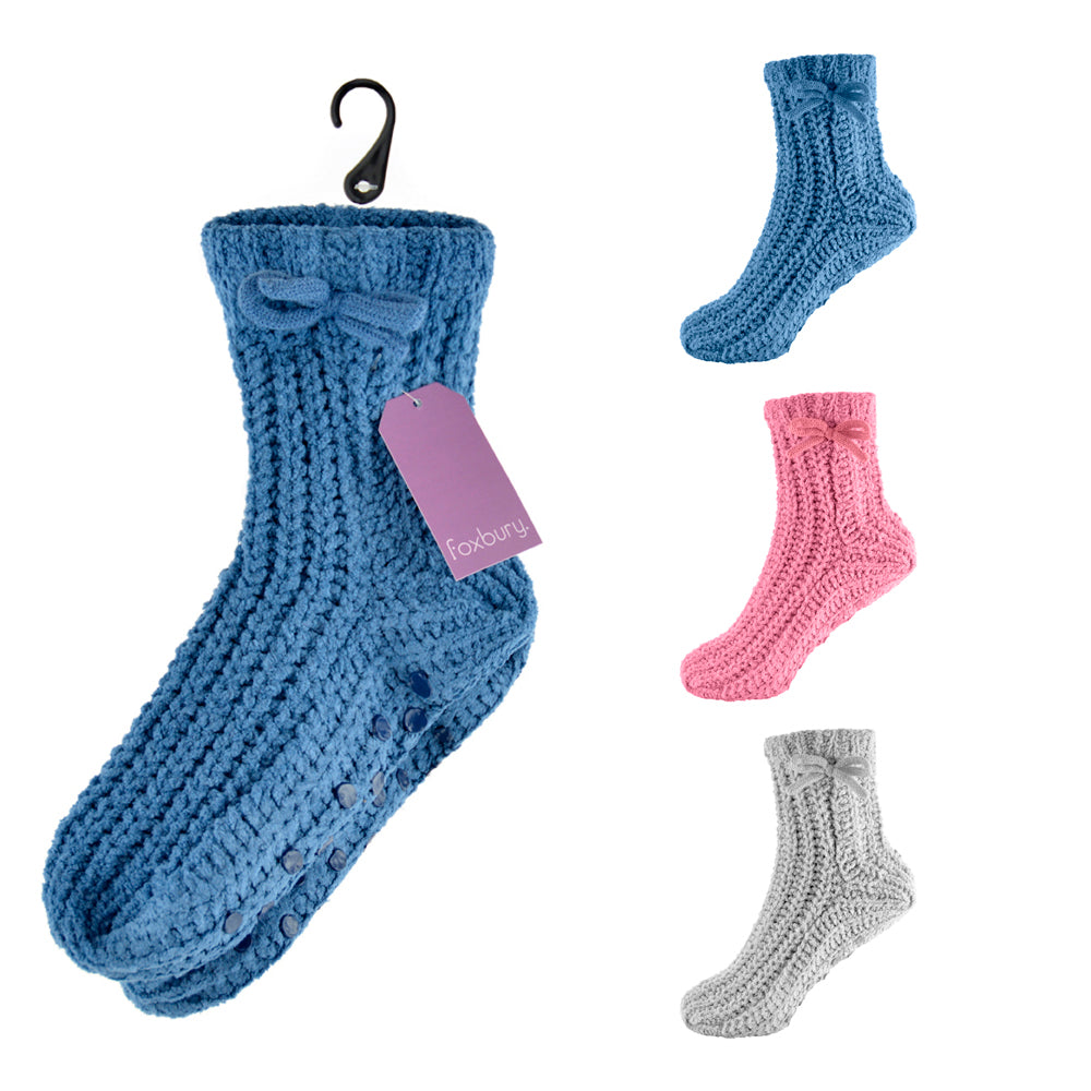 Ladies Non Skid Slipper Socks with Grip 1pp