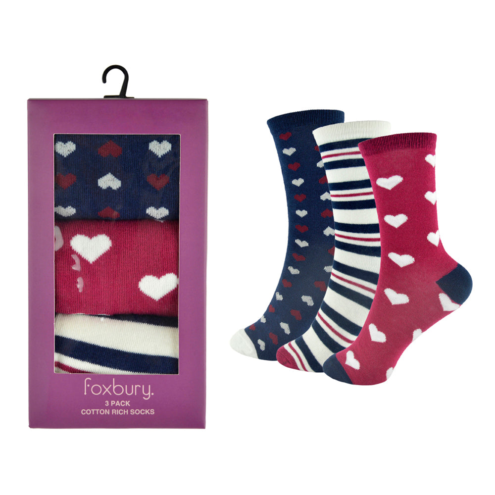 Ladies Cotton Rich Design Socks Boxed (3 Pack)