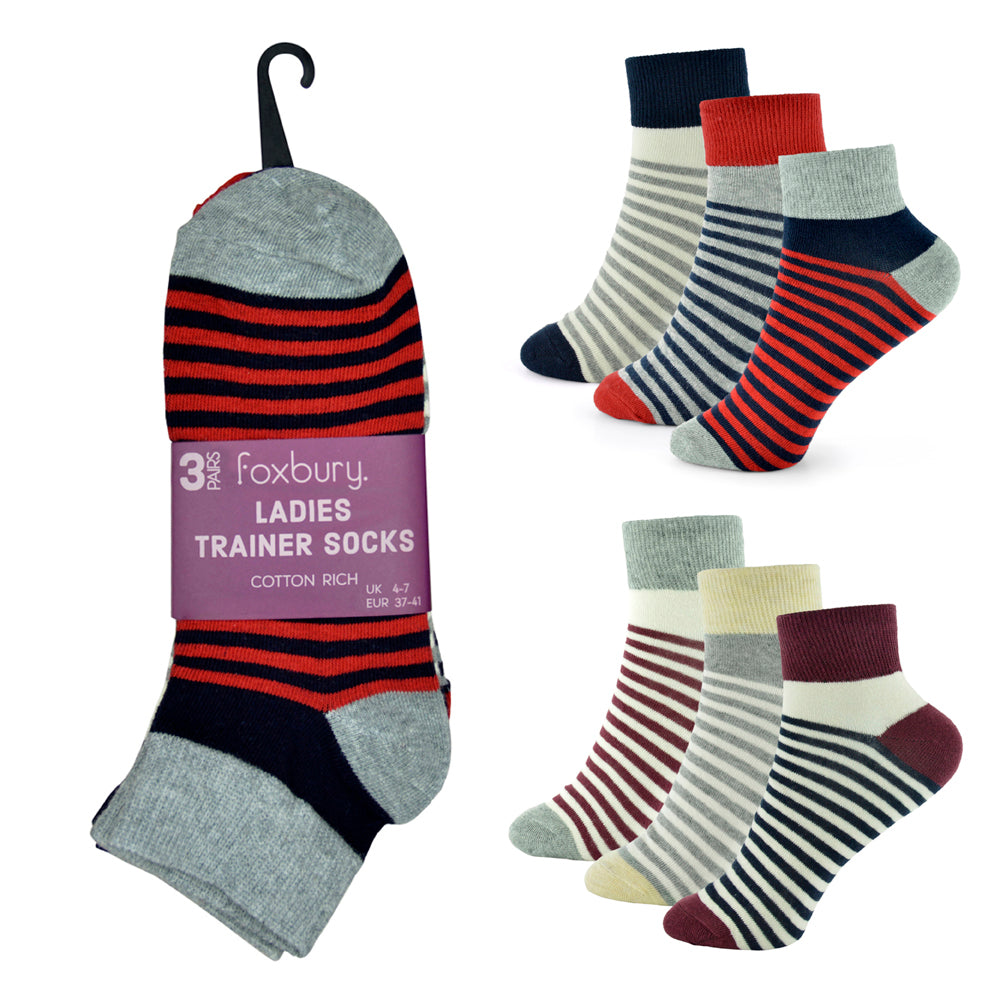 Ladies Cotton Rich Stripe Design Trainer Socks (3 Pack)