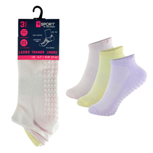 Ladies Sport Gripper Trainer Socks with Non Skid Grip Pastel (3 Pack)