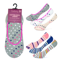 Ladies Invisible Socks with Silicone Back Spots and Stripes (3 Pack)
