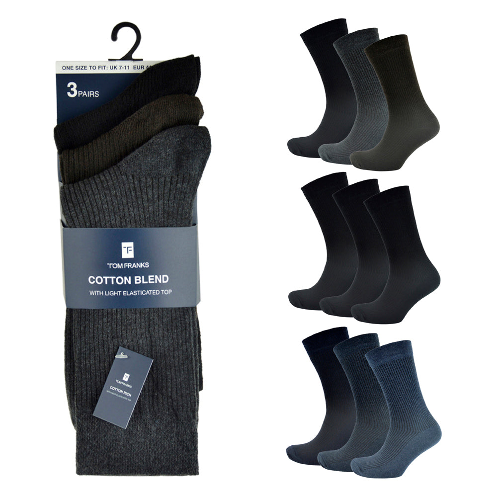 Mens Cotton Rich Ribbed Socks (3 Pack)