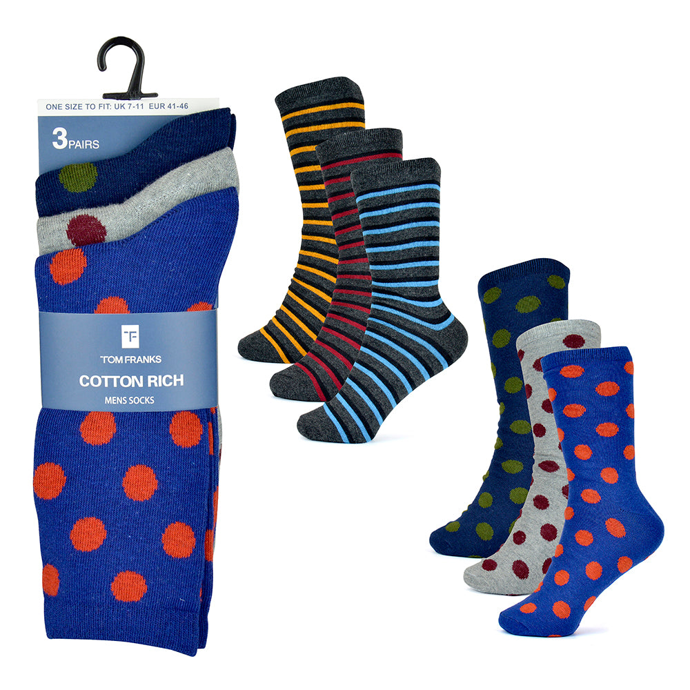 Mens Cotton Rich Design Socks (3 Pack)