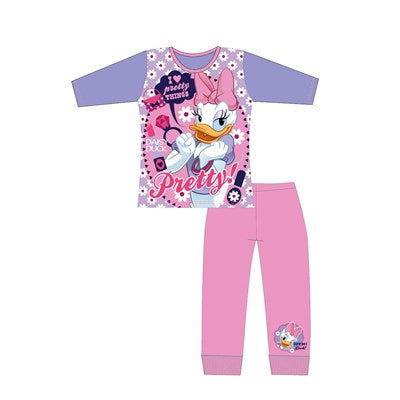 Girls Cartoon Character Daisy Duck Long Sleeve Pyjama Set