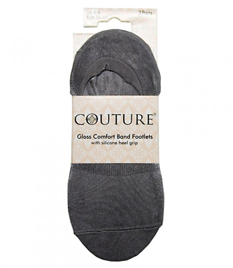 Ladies Couture Gloss Comfort Band Footlets 2PP