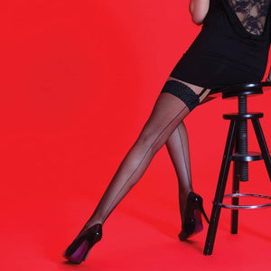 Ladies Scarlet Fishnet Backseam Stockings