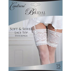 Ladies Soft and Sheer Lace Top Stockings 15 Denier
