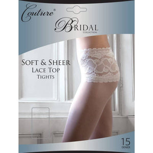Ladies Soft and Sheer Lace Top Tights 15 Denier