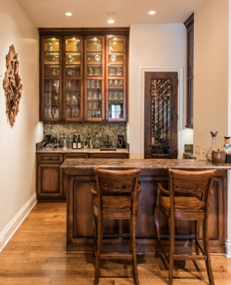 Stained Barr and Cabinets