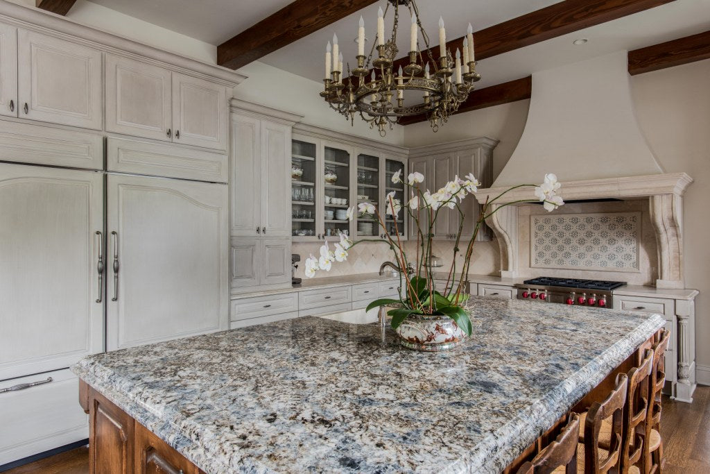 Glazed Cabinets and Stained Island