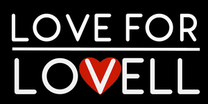 """Love for Lovell."" Sticker 3""x2"" Pack of 20"