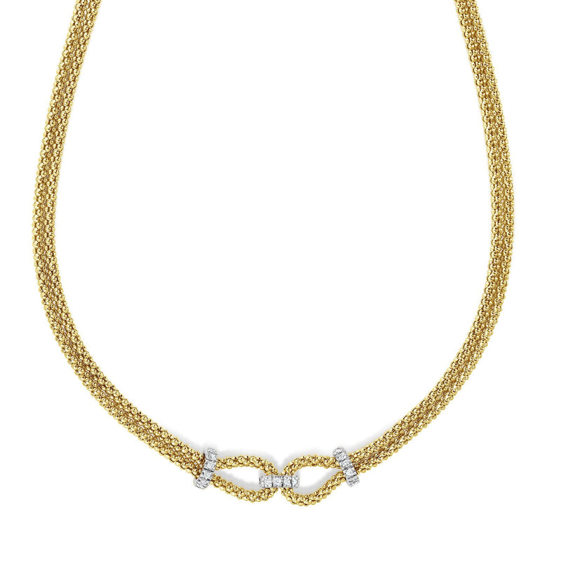 14K Gold & Diamond Popcorn Double Knot Necklace - Phillip Gavriel