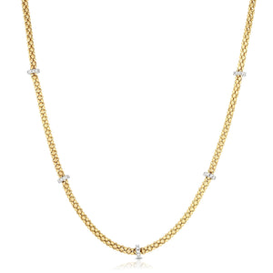 14K Gold & Diamond Station Popcorn Necklace - Phillip Gavriel