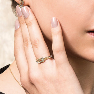 14K Gold Italian Cable L'Infinito Diamond Knot Ring - Phillip Gavriel