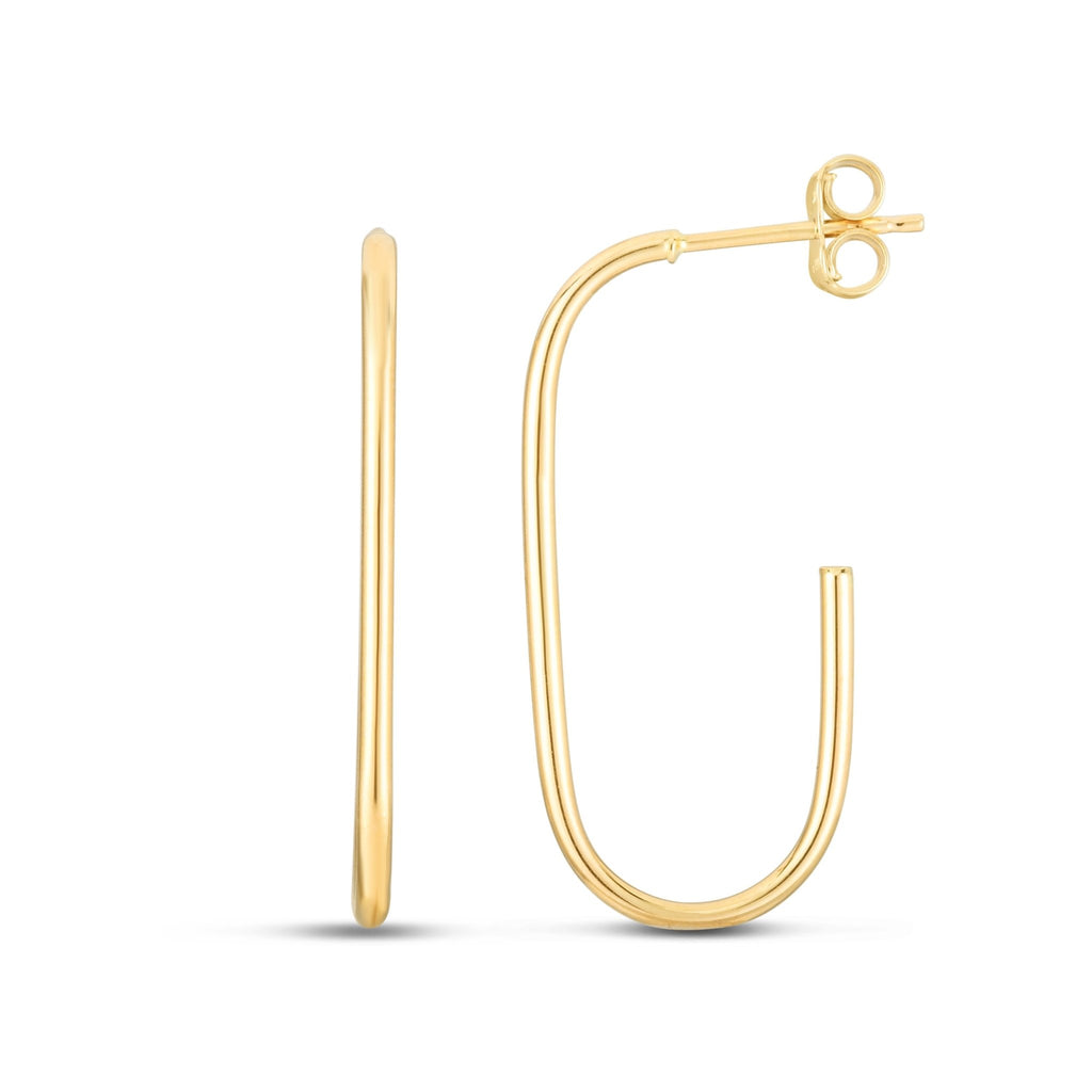 14K Gold Paperclip J-Hoop Earrings - Phillip Gavriel