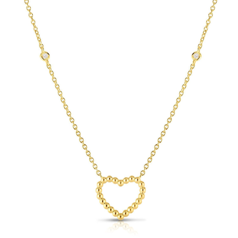 14K Gold Popcorn Heart Necklace - Phillip Gavriel
