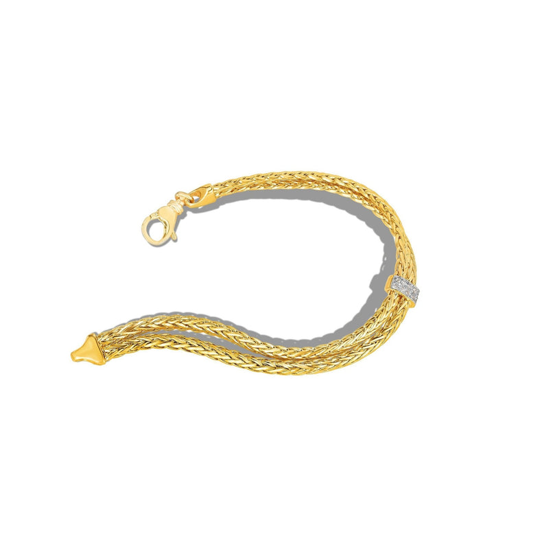14K Gold Woven Layered Stationed Diamond Bracelet - Phillip Gavriel