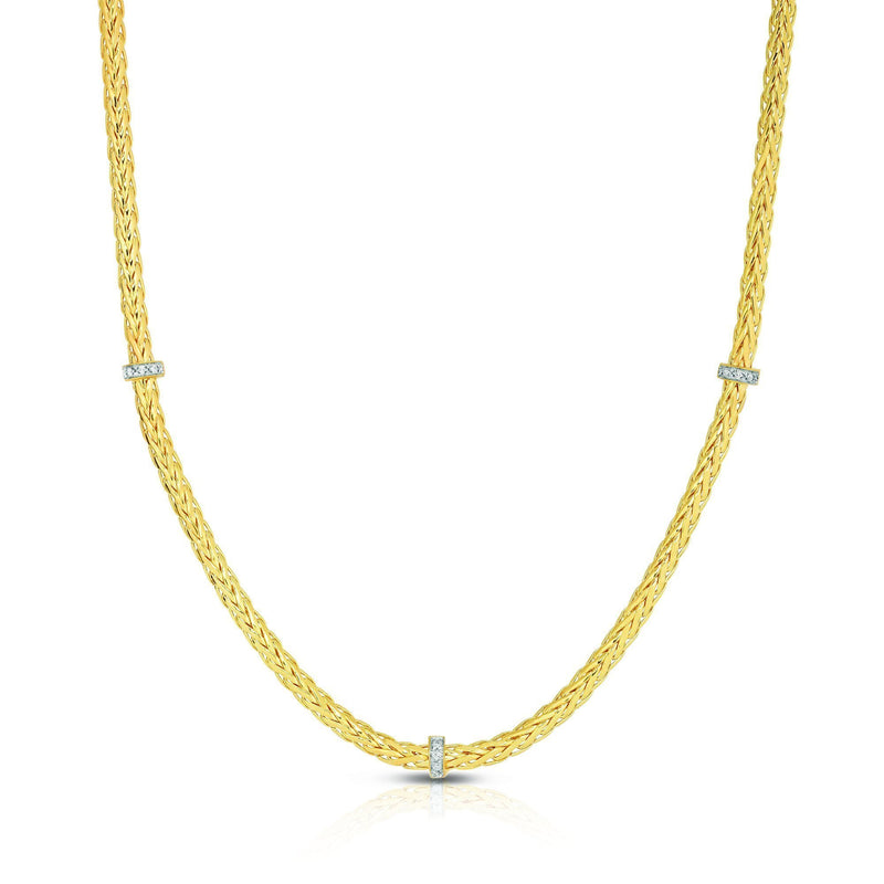 14K Gold Woven Stationed Diamond Necklace - Phillip Gavriel