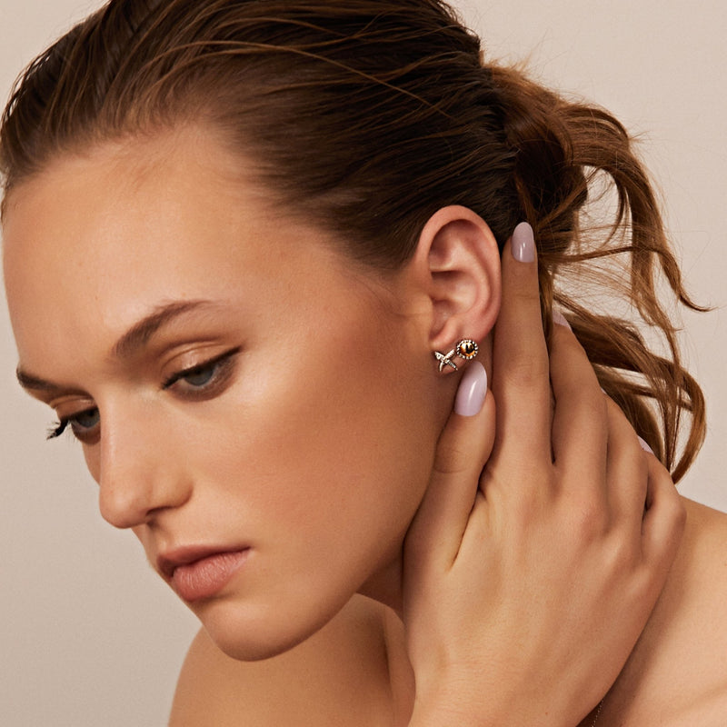 18K Gold & Sterling Silver Round Stud Earrings - Phillip Gavriel