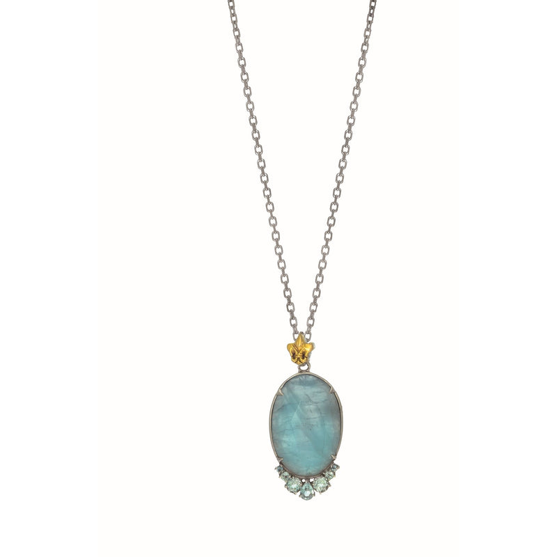 Silver & 18K Aquamarine Necklace