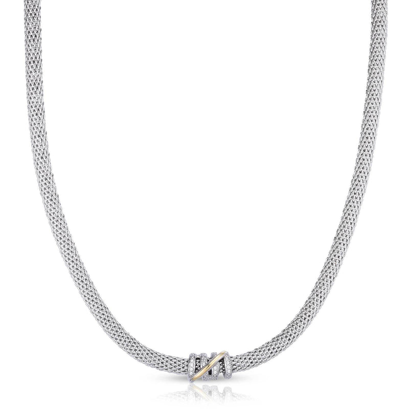 Small Diamond Tally Necklace in Sterling Silver & 18K - Phillip Gavriel