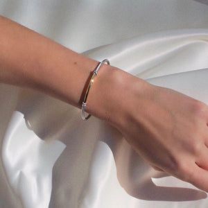 Sterling Silver & 18K Gold Bar 3mm Italian Cable Bangle - Phillip Gavriel