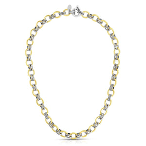 Sterling Silver & 18K Gold Italian Cable Doppia Link Necklace - Phillip Gavriel