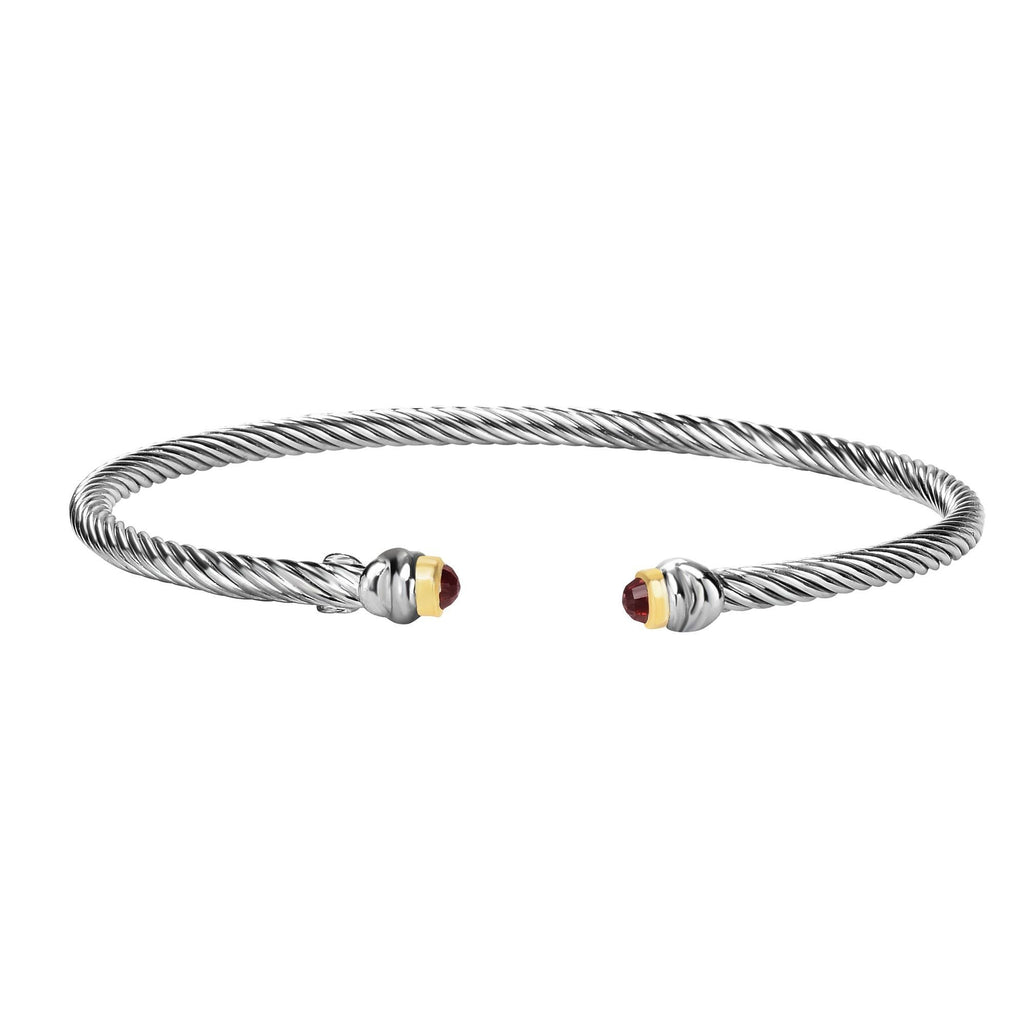 Sterling Silver & 18K Gold Italian Cable Stackable Skinny Cuff Bangle - Phillip Gavriel