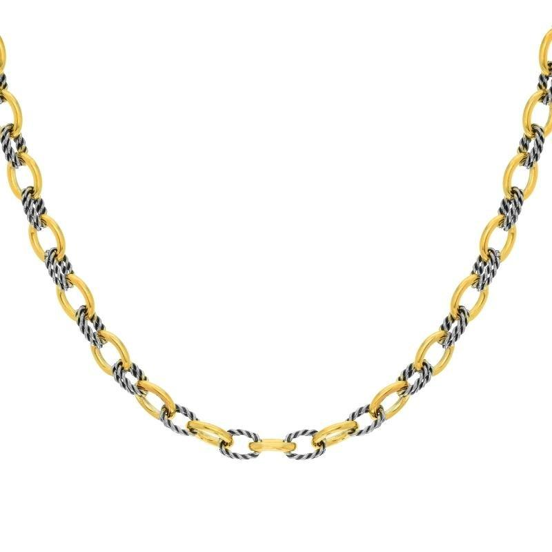 Sterling Silver & 18K Gold Italian Cable Textured Oval Link Necklace - Phillip Gavriel
