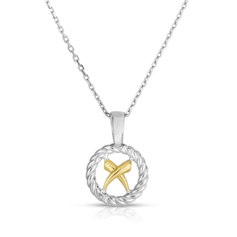 Sterling Silver & 18K Gold Italian Cable 'X' Necklace - Phillip Gavriel