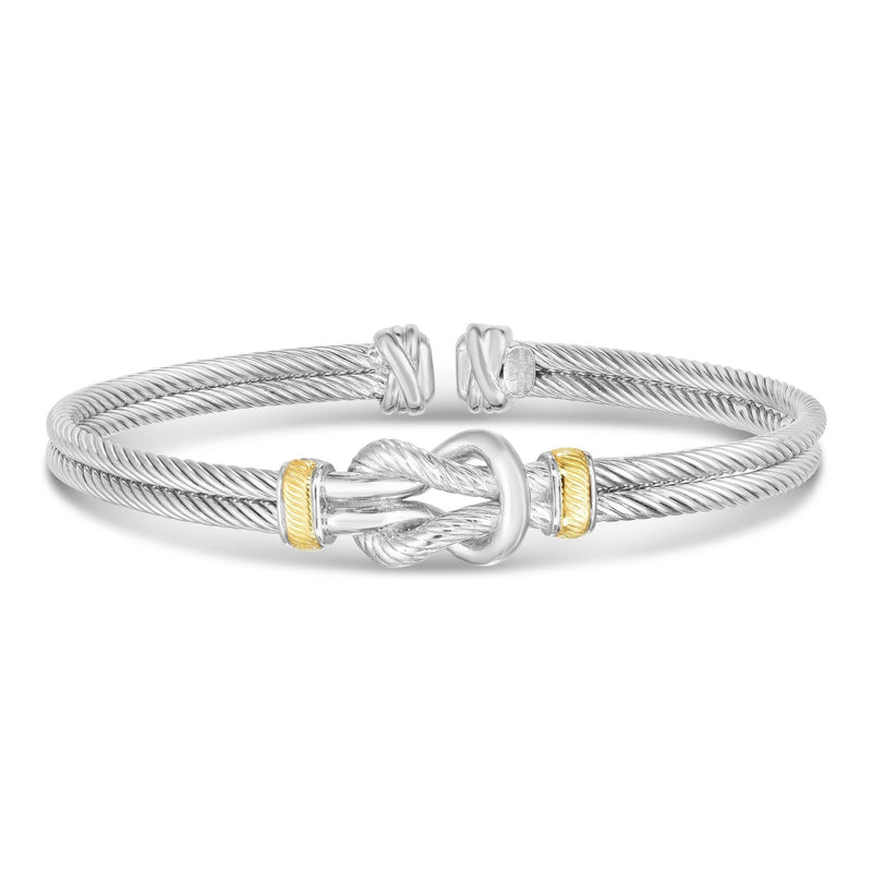 Sterling Silver, 18K Gold Knot Men's Cuff - Phillip Gavriel