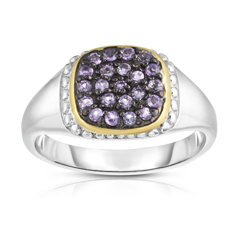 Sterling Silver & 18K Gold Pave Gemstone Signet Ring - Phillip Gavriel