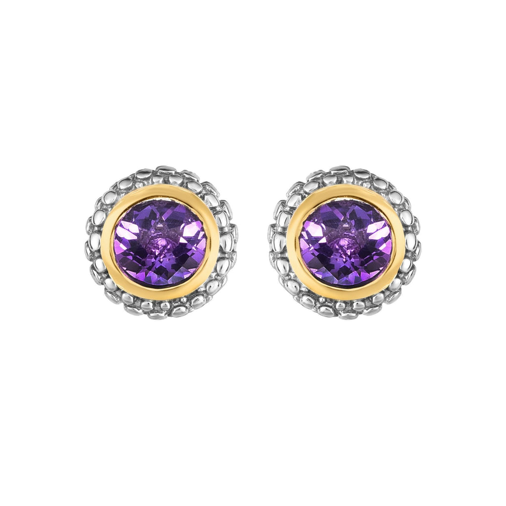 Sterling Silver & 18K Gold Popcorn Birthstone Stud Earrings - Phillip Gavriel